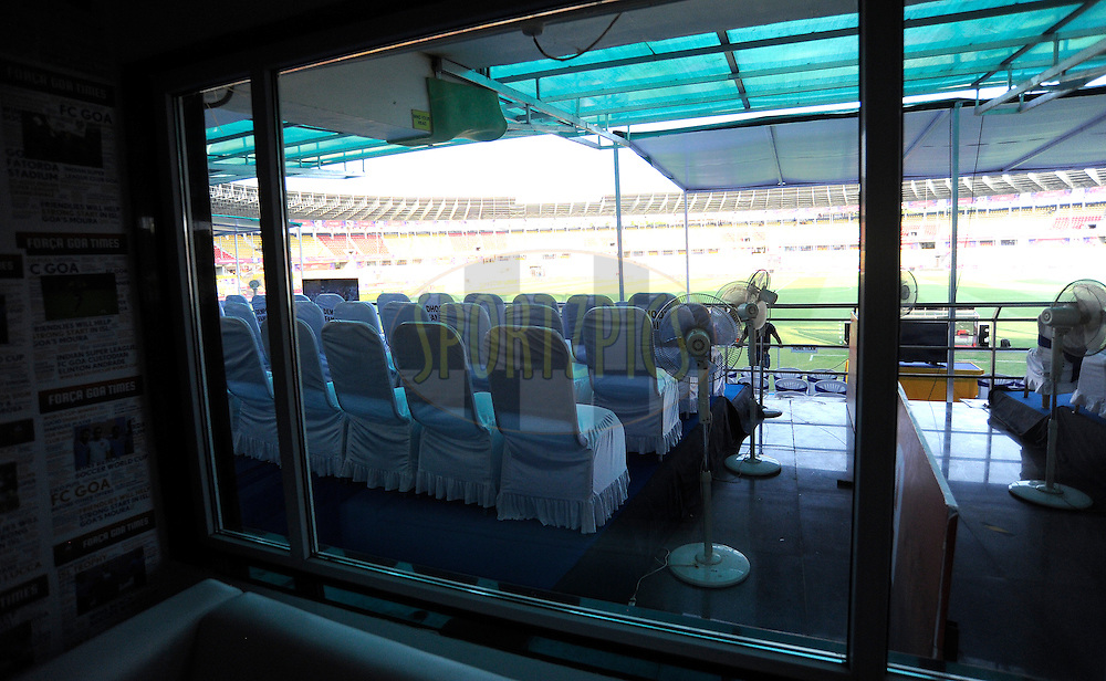 VVIP room during match 36 of the Indian Super League (ISL) season 2  between Mumbai City FC vs FC Pune City held at the D.Y. Patil Stadium, Navi Mumbai, India on the 13th November 2015.<br /> <br /> Photo by Pal Pillai / ISL/ SPORTZPICS
