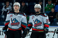 KELOWNA, BC - FEBRUARY 12: Dallon Wilton #15 and Dylan Wightman #28 of the Kelowna Rockets stand on the ice against the Tri-City Americans at Prospera Place on February 8, 2020 in Kelowna, Canada. (Photo by Marissa Baecker/Shoot the Breeze)
