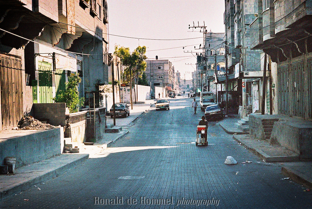 One of the few roads in beachcamp. A Palestinian refugeecamp on the seashore in Gazacity.