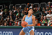 January 20, 2019: Jocelyn Jones #4 of North Carolina in action during the NCAA basketball game between the Miami Hurricanes and the North Carolina Tar Heels in Coral Gables, Florida. The 'Canes defeated the Tar Heels 76-68.