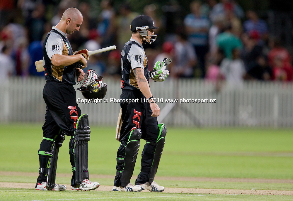 Peter Ingram and Brendon McCullum leave the field after their 10 wicket win in the National Bank Twenty20 Series cricket match between Bangladesh and New Zealand Blackcaps at Seddon Park, Hamilton, New Zealand, Wednesday 03 February 2010. Photo: Stephen Barker/PHOTOSPORT