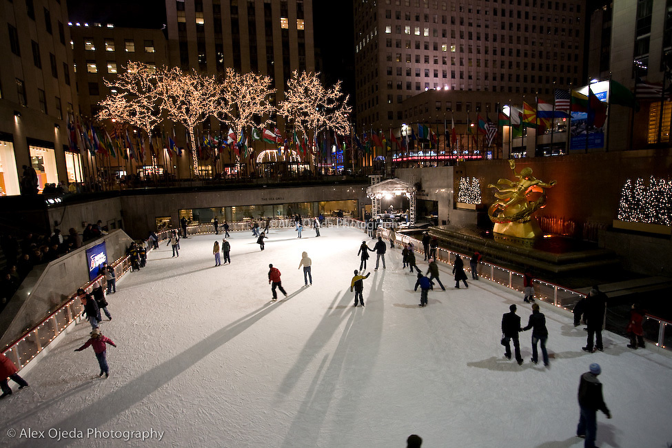 Ice skating at the Rockefeller Center, New York