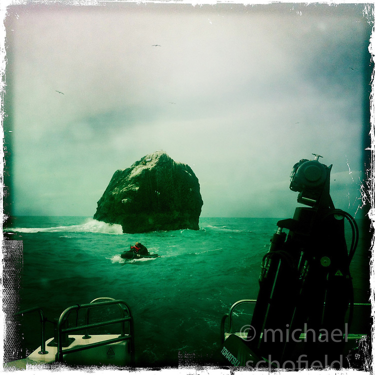 Rockall, an extremely small, uninhabited, remote rocky islet in the North Atlantic Ocean..Hipstamatic images taken on an Apple iPhone..©Michael Schofield.