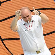 referee <br /> MNE - FRA Montenegro (white caps) vs. France (blue caps) <br /> Barcelona 16/07/2018 Piscines Bernat Picornell <br /> Men qualification<br /> 33rd LEN European Water Polo Championships - Barcelona 2018 <br /> Photo Andrea Staccioli/Deepbluemedia/Insidefoto