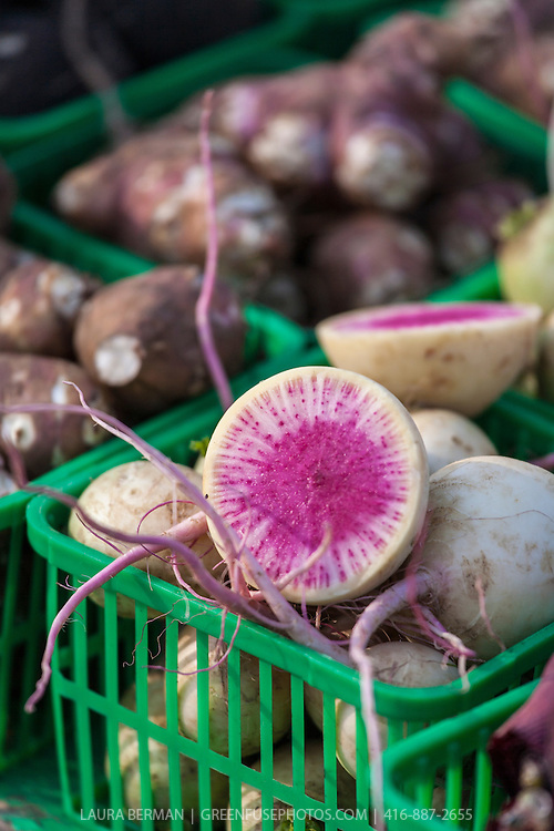 A large Watermelon Radish in a basket at a farmers market cut in half to expose its pink heart.