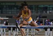 May 24, 2019; Sacramento, CA, USA; Chanel Brissett (1511) of Southern California wins women's 100m hurdles heat in 13.01 during the NCAA West Preliminary at Hornet Stadium.
