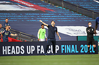 Football - 2020 Emirates 'Heads Up' FA Cup Final - Arsenal vs. Chelsea <br /> <br /> Frank Lampard (Chelsea manager) shouts instructions to his players, while the linesman wears a face mask, at Wembley Stadium.<br /> <br /> The match is being played behind closed doors because of the current COVID-19 Coronavirus pandemic, and government social distancing/lockdown restrictions.