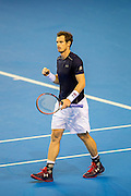 Andy Murray reacts to winning the second set (1-1) during the Davis Cup Semi Final between Great Britain and Argentina at the Emirates Arena, Glasgow, United Kingdom on 16 September 2016. Photo by Craig Doyle.