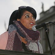 London, England, UK. 28th September 2017. Speaker Maz Saleem of Stop the War protest and rally to demand Theresa May to Stop Trump and Kim Jong-Un Nuclear threat call for a peaceful solution.