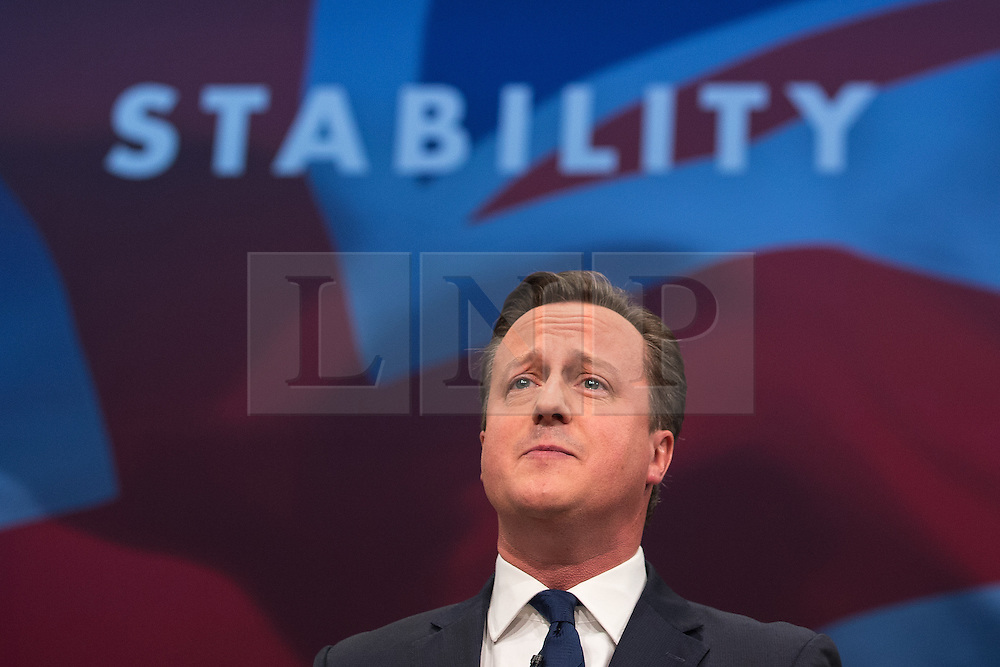 © Licensed to London News Pictures . 07/10/2015 . Manchester , UK . Prime Minister DAVID CAMERON delivers the leader's speech . The Conservative Party Conference at the Manchester Central Convention Centre . Photo credit : Joel Goodman/LNP