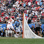 University of Maryland Goalkeeper KYLE BERNLOHR (35) makes a diving save during North Carolina possession in over time of The NCAA Division I NATIONAL CHAMPIONSHIP GAME between North Carolina and Maryland, Monday, May. 30, 2016 at Lincoln Financial Field in Philadelphia, Pa