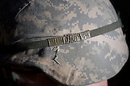 Apr, 9, 2011, Camp Edwards, Massachusetts - The helmet of Cadet Jon Broderick with his name written on a piece of tape to identify it from other cadet's helmets. Photo by ©Lathan Goumas.