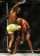 Tumisang Madiba (Blue) attempts to break Sindile Manengela (Red) hold during the eighth bout of the Extreme Fighting Championships, EFC 52 held at the Grand West Casino in Cape Town, South Africa on the 5th August 2016<br /> <br /> Photo by:   Shaun Roy / Real Time Images