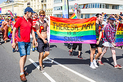 © Licensed to London News Pictures. 04/08/2016. Brighton, UK. Thousands of members of the LGBTQ community take part in the 2018 Brighton Pride parade. Over 160,000  visitors will take to the seaside resort for the annual Pride event. Photo credit: Hugo Michiels/LNP