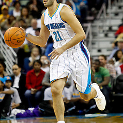 December 30, 2011; New Orleans, LA, USA; New Orleans Hornets guard Greivis Vasquez (21) against the Phoenix Suns during the second quarter of a game at the New Orleans Arena.   Mandatory Credit: Derick E. Hingle-US PRESSWIRE