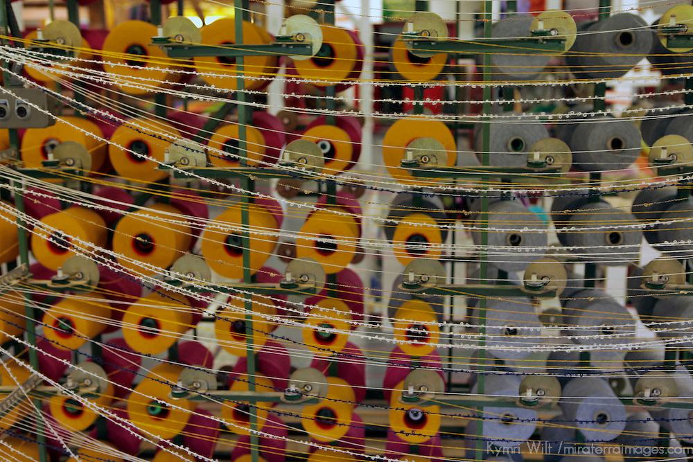 Europe, Ireland, Avoca. Avoca Handweavers Mill, County Wicklow. Woolen bolts and spindles at Avoca Handweaver's Mill.