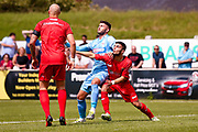 Bolton Wanderers striker Gary Madine (14) challenges for the ball during the Pre-Season Friendly match between Chorley and Bolton Wanderers at Victory Park, Chorley, United Kingdom on 8 July 2017. Photo by Simon Davies.
