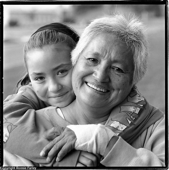 Malkameen-Haida elder Lena Dunstan and granddaughter Alicia at a Pow wow, Yelm, Washington 1991.