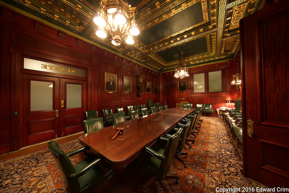 In an antechamber of the Pennsylvania Senate in the capitol in Harrisburg.
