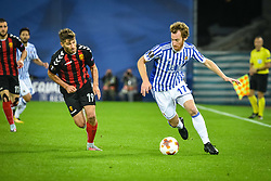 November 2, 2017 - San Sebastian, Gipuzkoa - Basque Country, Spain - Zurutuza of Real Sociedad duels for the ball with Hovhannes Hambartsumyan of FK Vardar during the UEFA Europa League Group L football match between Real Sociedad and FK Vardar at the Anoeta Stadium, on 2 November 2017 in San Sebastian, Spain  (Credit Image: © Jose Ignacio Unanue/NurPhoto via ZUMA Press)