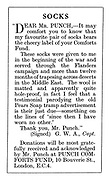 Punch Comforts Fund ad: Socks. Dear Mr Punch....