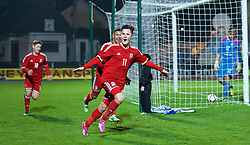 BALLYMENA, NORTHERN IRELAND - Thursday, November 20, 2014: Wales' Liam Cullen celebrates scoring the second goal against Northern Ireland during the Under-16's Victory Shield International match at the Ballymena Showgrounds. (Pic by David Rawcliffe/Propaganda)