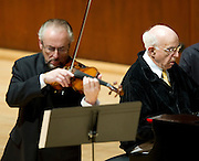 Emanuel Borok, violin, and Yehudi Wyner, piano, perform Dances of Atonement by Wyner during the Voices of Change concert at the Caruth Auditorium at SMU on Sunday, January 20, 2013 in Dallas, Tx. (Cooper Neill/The Dallas Morning News)