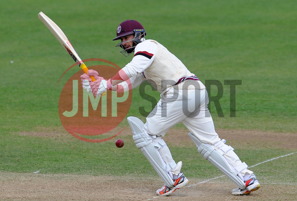 Somerset's Alex Barrow pulls the ball. - Photo mandatory by-line: Harry Trump/JMP - Mobile: 07966 386802 - 28/04/15 - SPORT - CRICKET - LVCC Division One - County Championship - Somerset v Middlesex - Day 3 - The County Ground, Taunton, England.
