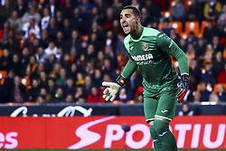 January 26, 2019 - Valencia, Spain - Sergio Asenjo of Villarreal CF  during  spanish La Liga match between Valencia CF vs Villarreal CF at Mestalla Stadium on Jaunary  26, 2019. (Credit Image: © Jose Miguel Fernandez/NurPhoto via ZUMA Press)