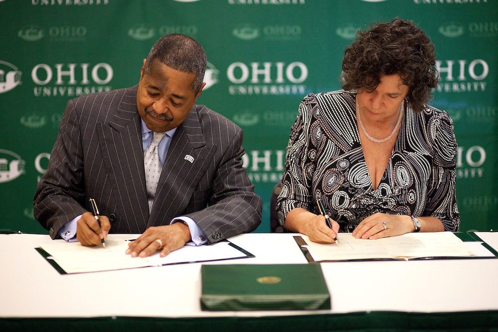 Leipzig University President Beate A. Schücking  and Ohio University President McDavis sign and renew a Memorandum of Understanding between LU and Ohio University in the Multicultural Center's multipurpose room in Baker Center on Monday, September 24, 2012..Photo by Chris Franz