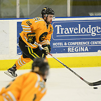 3rd year forward Colton Sparrow (22) of the Regina Cougars in action during the Men's Hockey Home Game on January 20 at Co-operators arena. Credit: Arthur Ward/Arthur Images
