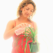 Sasha B. waters a plant with bottled water.