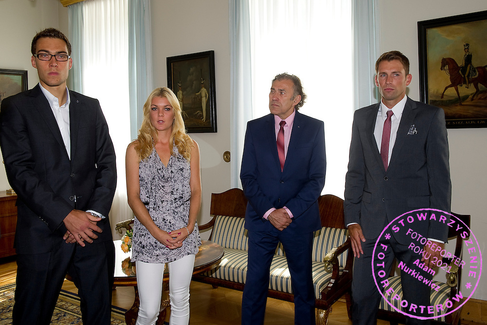 (L-R) Jerzy Janowicz and Agnieszka Radwanska and Jerzy Janowicz Senior and Lukasz Kubot during meeting in Belvedere Palace in Warsaw, Poland.<br /> <br /> Poland, Warsaw, July 08, 2013<br /> <br /> Picture also available in RAW (NEF) or TIFF format on special request.<br /> <br /> For editorial use only. Any commercial or promotional use requires permission.<br /> <br /> Photo by &copy; Adam Nurkiewicz / Mediasport