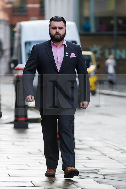 © Licensed to London News Pictures. 03/01/2020. London, UK. Andrew Dymock arrives at the Old Bailey in London for a preliminary hearing in connection with a number of terror offences. Andrew Dymock, 22, an alleged Neo-Nazi is alleged to have promoted the extreme-right System Resistance Network (SRN) group through his Twitter account and website. Photo credit: Vickie Flores/LNP