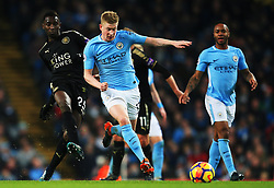 Wilfred Ndidi of Leicester City and Kevin De Bruyne of Manchester City - Mandatory by-line: Matt McNulty/JMP - 10/02/2018 - FOOTBALL - Etihad Stadium - Manchester, England - Manchester City v Leicester City - Premier League