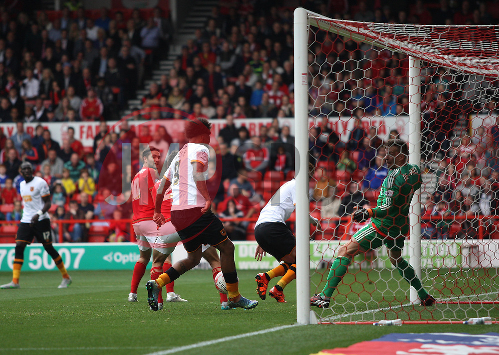 Abel Hernandez of Hull City (C) scores his sides first goal - Mandatory byline: Jack Phillips / JMP - 07966386802 - 3/10/2015 - FOOTBALL - The City Ground - Nottingham, Nottinghamshire - Nottingham Forest v Hull City - Sky Bet Championship