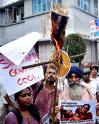 September 4, 2017 - Kolkata, West Bengal, India - A group of activist protest against Rohingy crisis in front of Myanmar Consulate on September 4, 2017 in Kolkata. Myanmar Military and police crackdown on Rohingya Muslims killings thousand at Rakhine state of Myanmar. (Credit Image: © Saikat Paul/Pacific Press via ZUMA Wire)