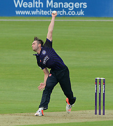 Matt Taylor of Gloucestershire bowls - Photo mandatory by-line: Dougie Allward/JMP - Mobile: 07966 386802 - 15/05/2015 - SPORT - Cricket - Bristol - Bristol County Ground - Gloucestershire County Cricket v Middlesex County Cricket - NatWest T20 Blast