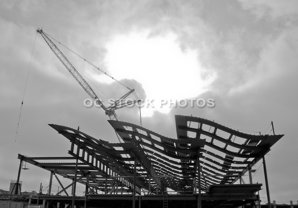 Black and White Photo of Newport Beach City Hall Under Construction