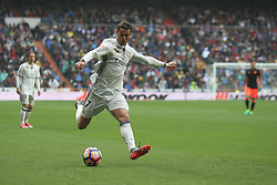 April 29, 2017 - Madrid, Spain - MADRID, SPAIN. APRIL 29th, 2017 - Cristiano Ronaldo. La Liga Santander matchday 35 game. Real Madrid defeated 2-1 Valencia with goals scored by Cristiano Ronaldo (26th minute) and Marcelo (86th minute). Parejo (82nd minute) scored for Valencia. Santiago Bernabeu Stadium. Photo by Antonio Pozo | PHOTO MEDIA EXPRESS (Credit Image: © Antonio Pozo/VW Pics via ZUMA Wire/ZUMAPRESS.com)