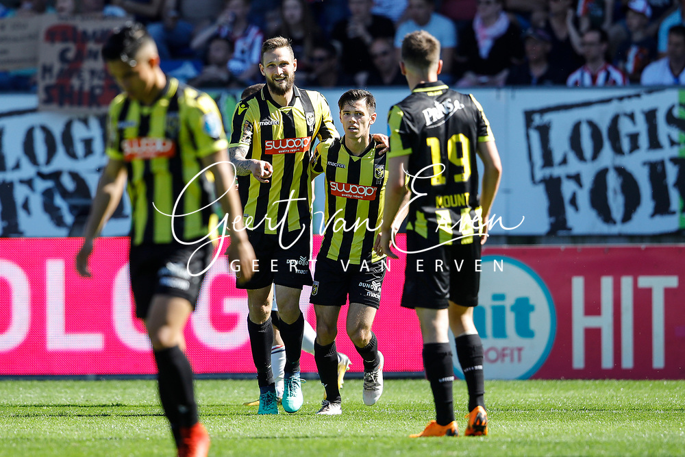 *Tim Matavz* of Vitesse celebrates 2-2?with *Mitchell van Bergen* of Vitesse