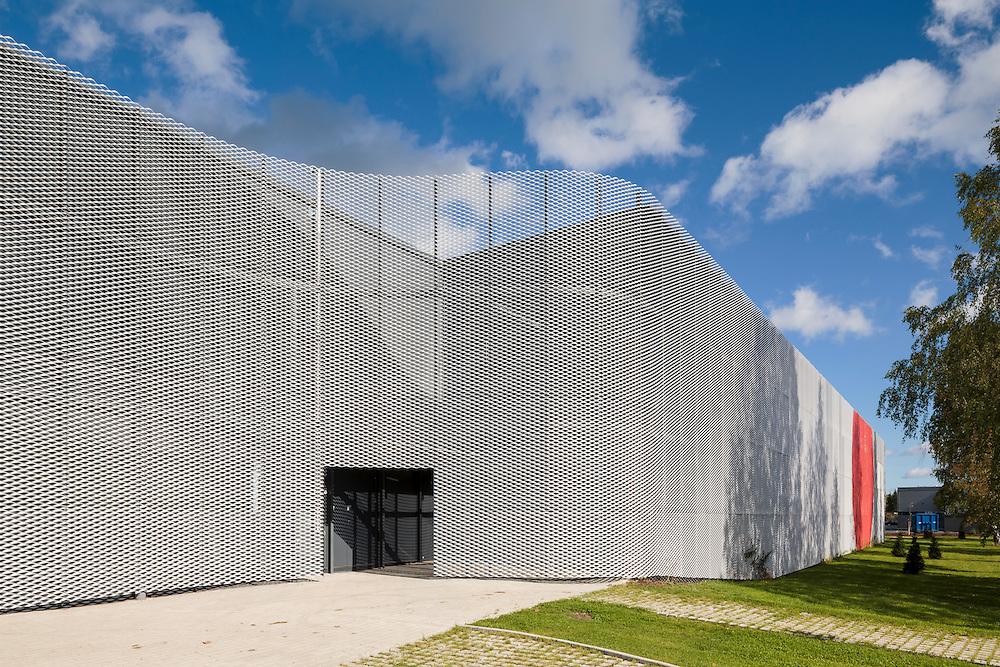 Linström textile company wire mesh facade in Vantaa, Finland designed by Heikkinen-Komonen Architects