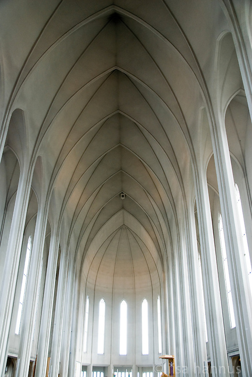The interior of Hallgrímskirkja, or Church of Hallgrímur, in Reykjavik, Iceland. It is one of the city's best-known landmarks and is visible throughout the city.
