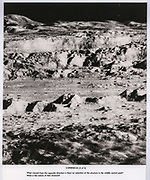 """Photograph of the Century"" of crater Copernicus, printed with study instructions, used during the process of mapping the lunar surface and making navigation charts for landings."