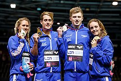 Great Britain's Mixed 4x100m Medley Relay team win Gold in a new World Record Time. L-R Jemma Lowe, Chris Walker-Hebborn, Adam Peaty and Francesca Halsall - Photo mandatory by-line: Rogan Thomson/JMP - 07966 386802 - 19/08/2014 - SPORT - SWIMMING - Berlin, Germany - Velodrom im Europa-Sportpark - 32nd LEN European Swimming Championships 2014 - Day 7.