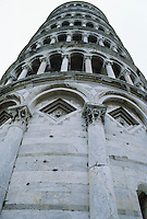 View looking up from base of the Leaning Tower of Pisa Pisa Italy
