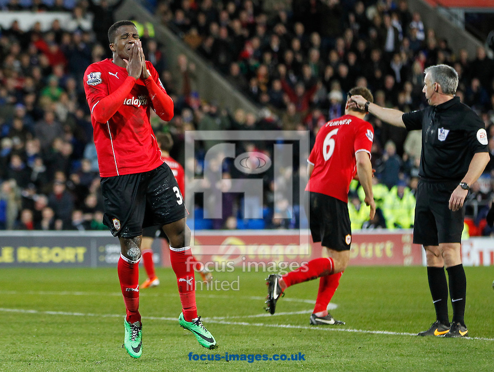 Wifried Zaha of Cardiff City against Aston Villa during the Barclays Premier League match at the Cardiff City Stadium, Cardiff<br /> Picture by Mike  Griffiths/Focus Images Ltd +44 7766 223933<br /> 11/02/2014