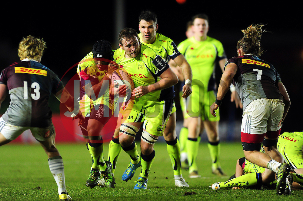 Jonathan Mills of Sale Sharks in possession - Mandatory byline: Patrick Khachfe/JMP - 07966 386802 - 03/02/2017 - RUGBY UNION - The Twickenham Stoop - London, England - Harlequins v Sale Sharks - Anglo-Welsh Cup.