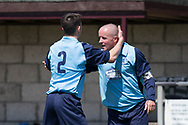 Paul Cooney (right) is congraulated after his late goal had won the cup for Riverside CSC - Riverside CSC (light blue) v Hilltown Hotspurs (green) in the Dundee Saturday Morning Football League Shaun Kelly Memorial Cup Final at North end, Dundee, Photo: David Young<br /> <br />  - &copy; David Young - www.davidyoungphoto.co.uk - email: davidyoungphoto@gmail.com