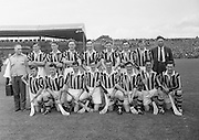 All Ireland Senior Hurling Championship - Final,.1091957AISHCF,.01.09.1957, 09.01.1957, 1st September 1957,..Kilkenny 04-10  Waterford 03-12,...Kilkenny,. ..Back row (from left) Syd Bluett, Jim 'Link' Walsh, Dick Rockett, John Sutton, Mick Brophy, Sean Clohessy, Mick Kenny, Olly Walsh, Bob Ayleward,.Front row, (from left) John McGovern, Billy Dwyer, Paddy Buggy, Mick Kelly (Captain), Mickey Walsh, John Maher,...